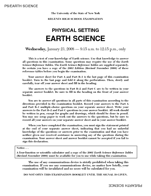 Regents High School Examination: Physical Setting Earth Science 2008 Lesson Plan