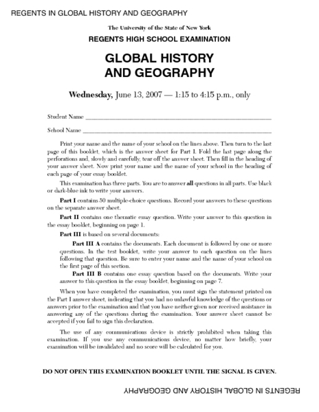 Regents High School Examination: Global History and Geography ...