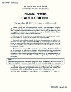Regents High School Examination: Physical Setting Earth Science 2010 Worksheet