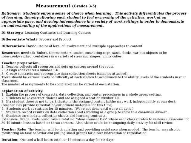Measurement (Grades 3-5) 3rd - 5th Grade Lesson Plan | Lesson Planet