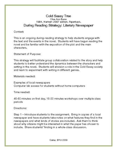 During Reading Strategy: Literary Newspaper Lesson Plan