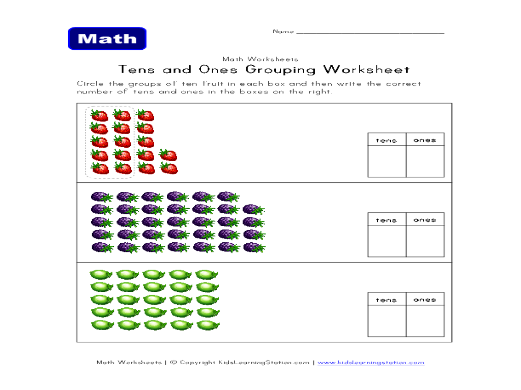Tens and Ones Grouping Worksheet for 1st - 2nd Grade | Lesson Planet