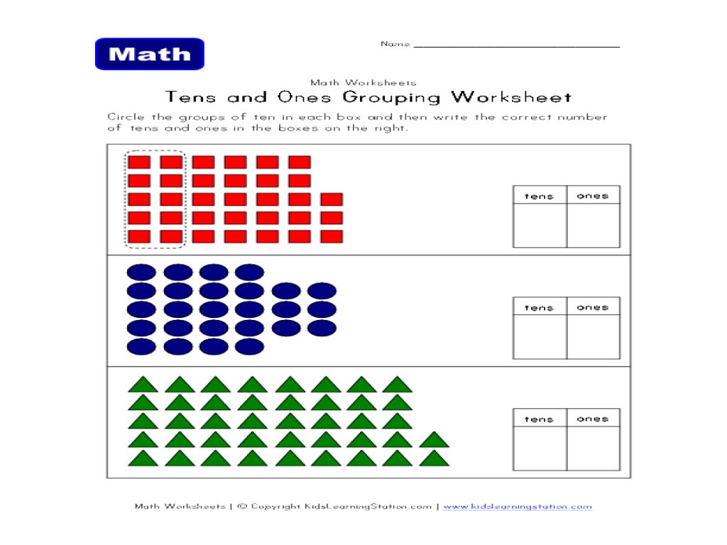 Tens And Ones Grouping Worksheet Worksheet For 1st 3rd