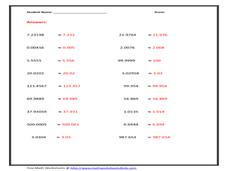 rounding decimals lesson plans  worksheets  lesson planet rounding decimals to nearest thousandth
