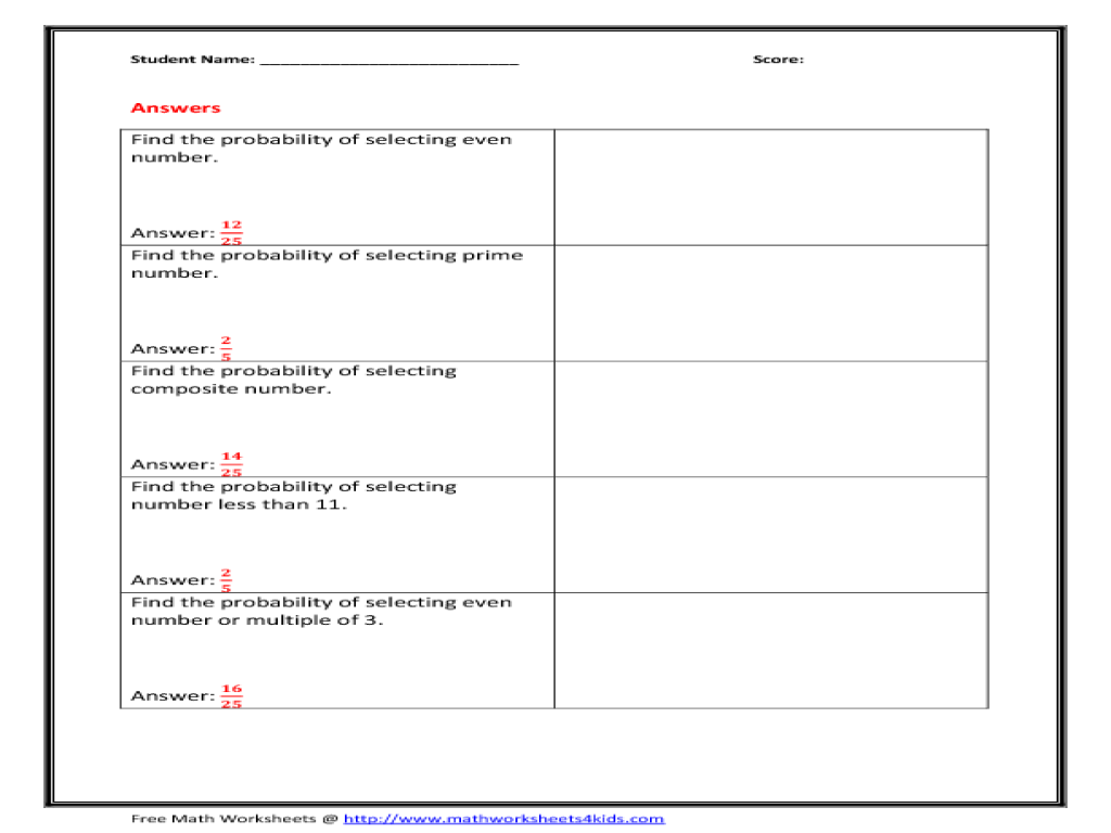 Probability of Numbers Worksheet for 5th - 6th Grade | Lesson Planet