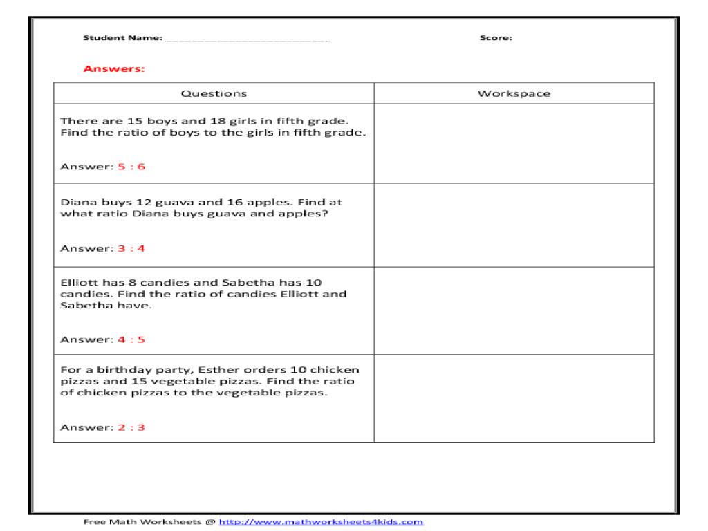 worksheet. Ratio Word Problems Worksheet. Duliziyou Worksheets for ...