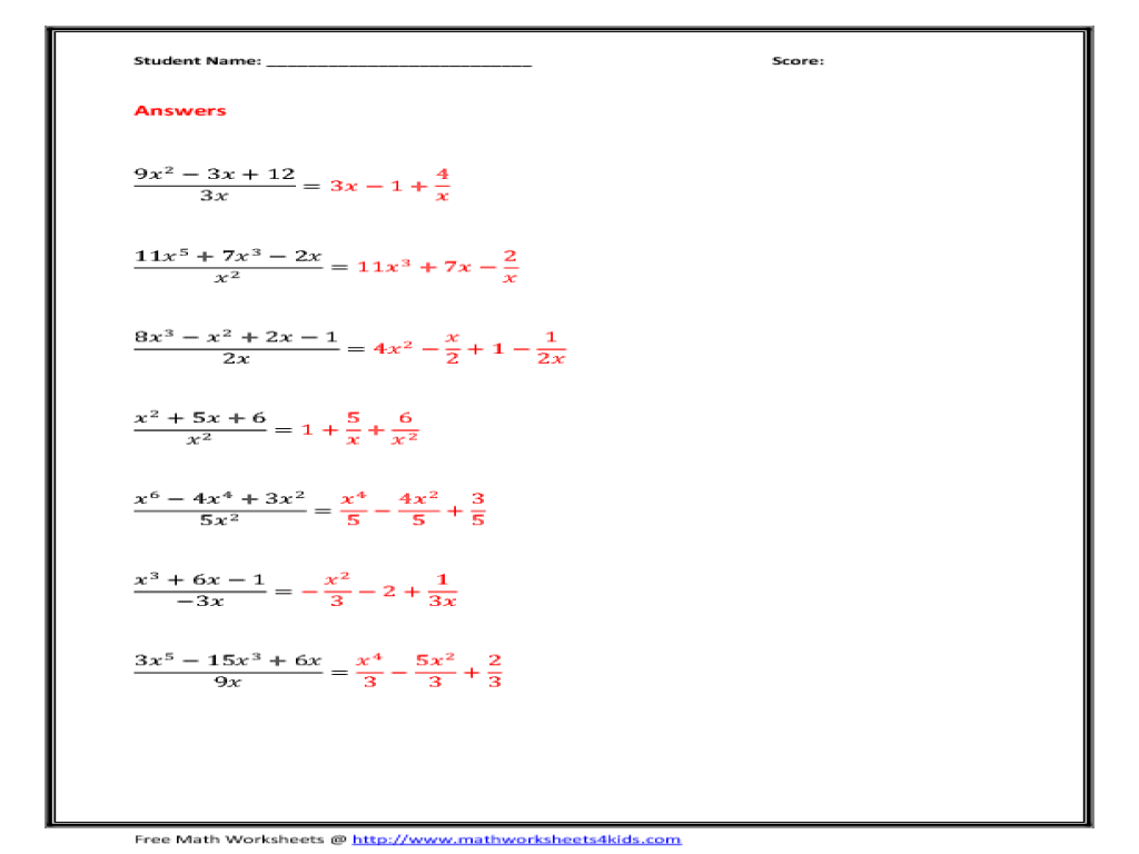 Divide the Polynomials by Monomials 8th - 10th Grade Worksheet ...