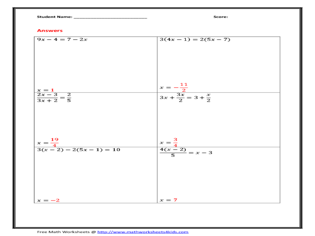 Solve Multi Step Equations Worksheet for 5th   6th Grade ...