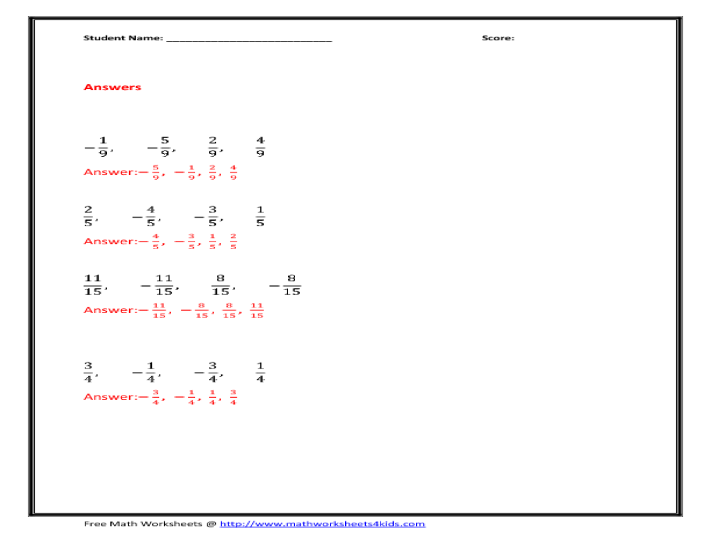 increasing order-fractions worksheet for 3rd - 4th grade | lesson planet