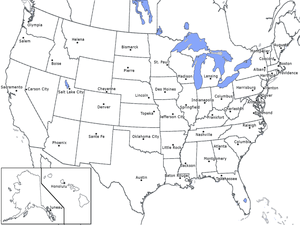 United States Map: Capitals Graphic Organizer for 4th