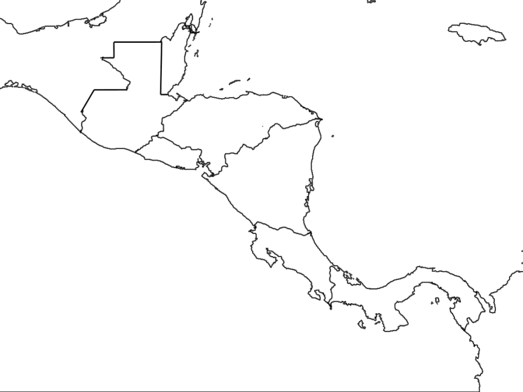 Central America Map wtih Country Borders Graphic Organizer