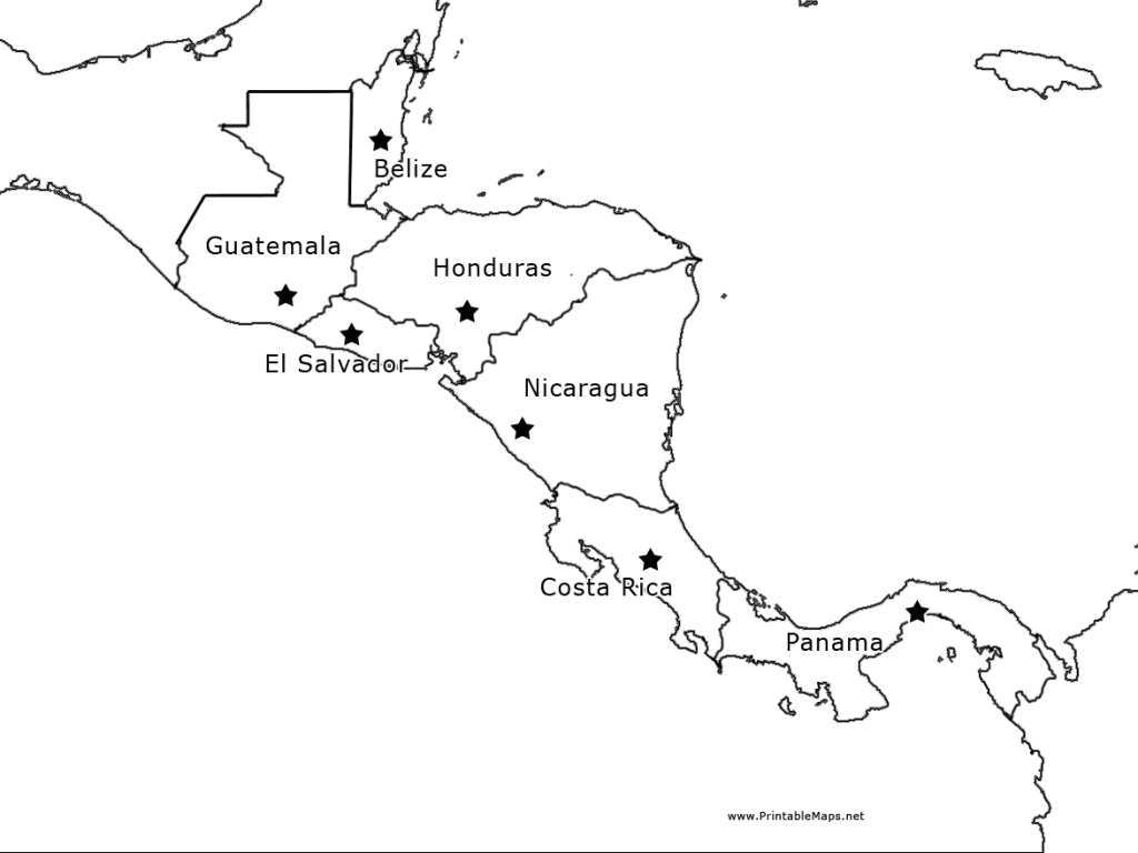 Central America Outline Map - Labelled 5th - 10th Grade Worksheet ...
