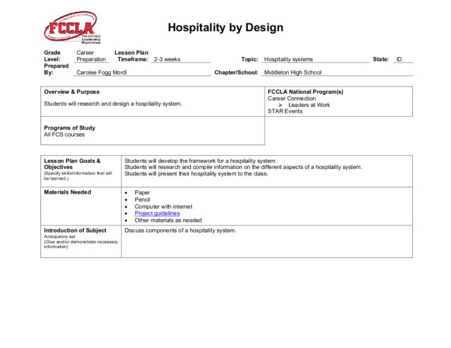 Hospitality by Design Lesson Plan