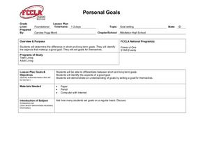 Personal Goals Lesson Plan