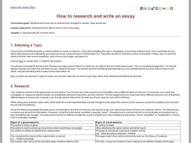How to Research and Write an Essay Lesson Plan