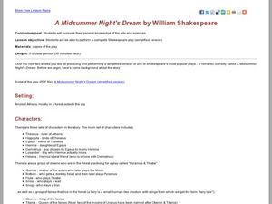 A Midsummer Night's Dream by William Shakespeare Lesson Plan