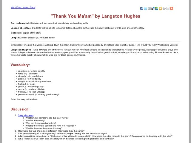 thank you ma am by langston hughes analysis