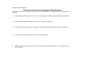 Primary Source Analysis Worksheet Lesson Plan