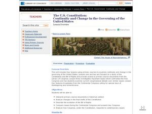 The U.S. Constitution:Continuity and Change in the Governing of the United States Lesson Plan