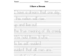 I Have A Dream: tracing Worksheet