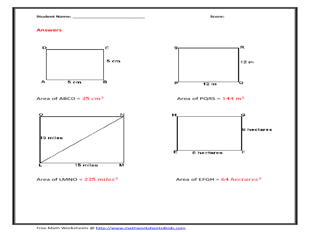 Area Of A Square Worksheet For 6th Grade Lesson Planet