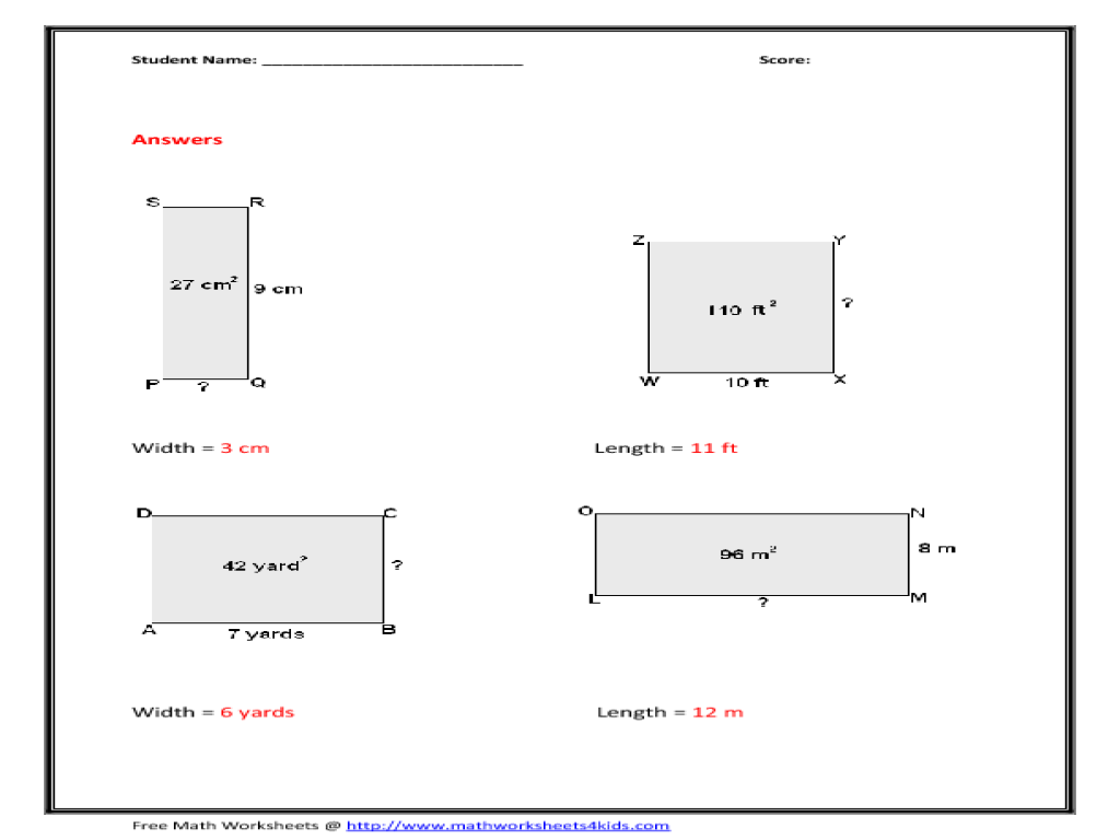 length width of rectangle worksheet for 5th 6th grade lesson planet. Black Bedroom Furniture Sets. Home Design Ideas