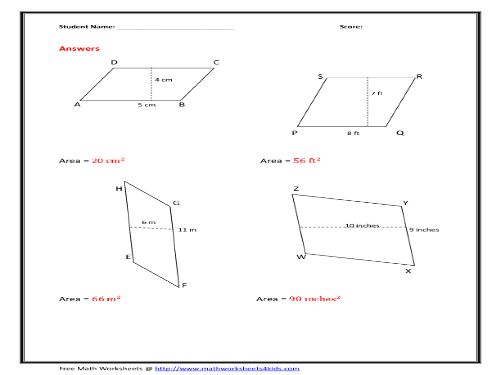 Area Of Parallelogram Worksheets To Print: Area of Parallelogram Worksheet   Figure Version 6th   8th Grade    ,