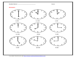 Telling Time to the Hour on Analog Clocks Worksheet for ...