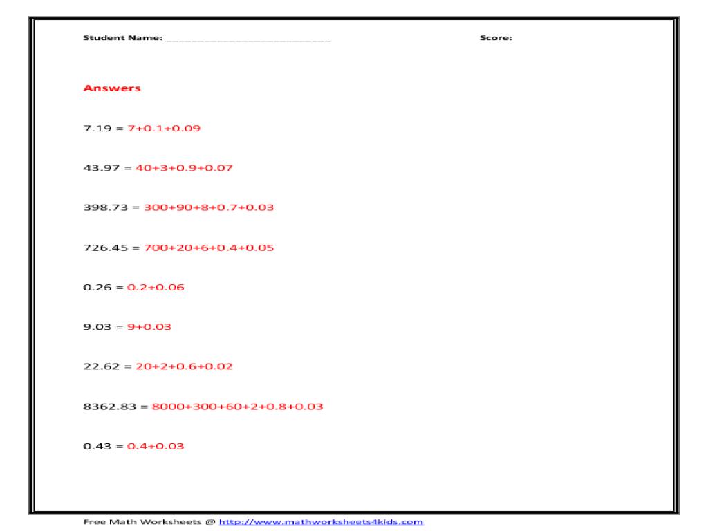 Decimals Expanded Notation Lesson Plans & Worksheets