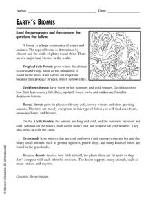 Earth's Biomes Worksheet for 3rd - 5th Grade | Lesson Planet