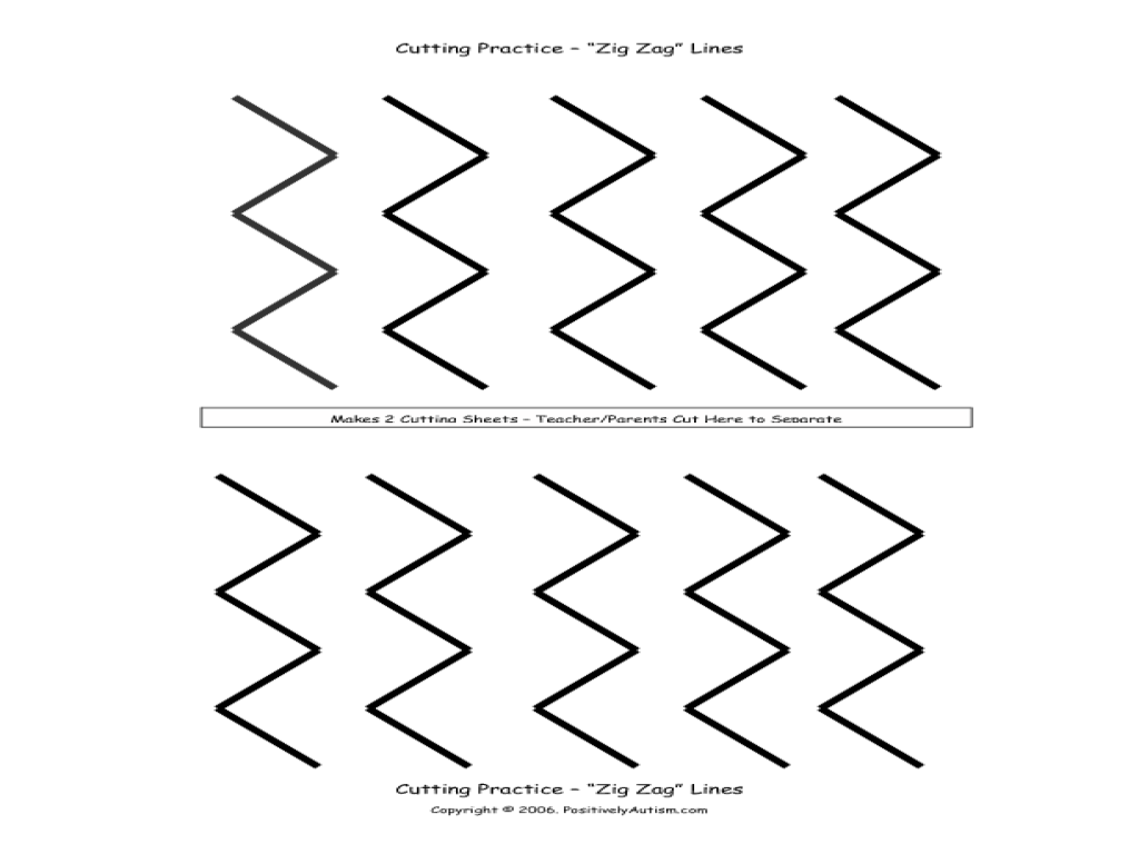 Zig Zag Lines for Cutting Practice Worksheet for Pre-K