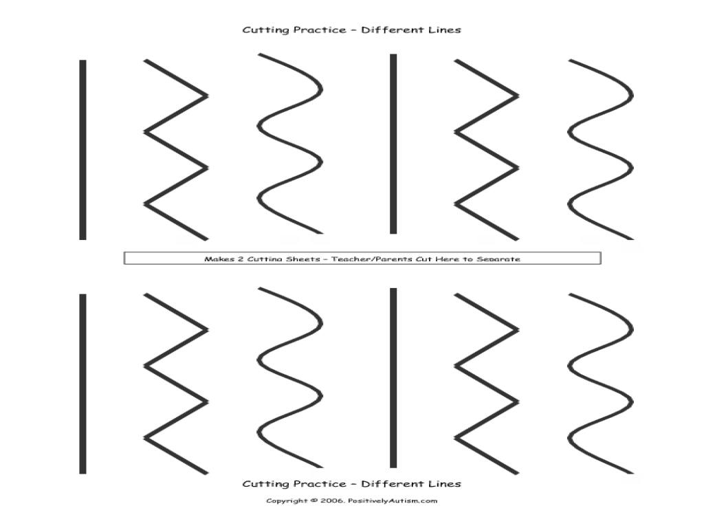 Cutting Practice — Different Lines Worksheet for