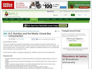 Nutrition and the Media: Cereal Box Consumerism Lesson Plan
