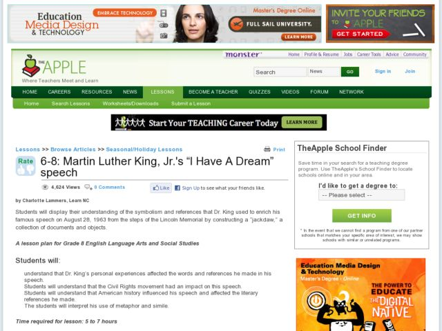 "Martin Luther King Jr's ""I Have A Dream"" Speech Lesson Plan"