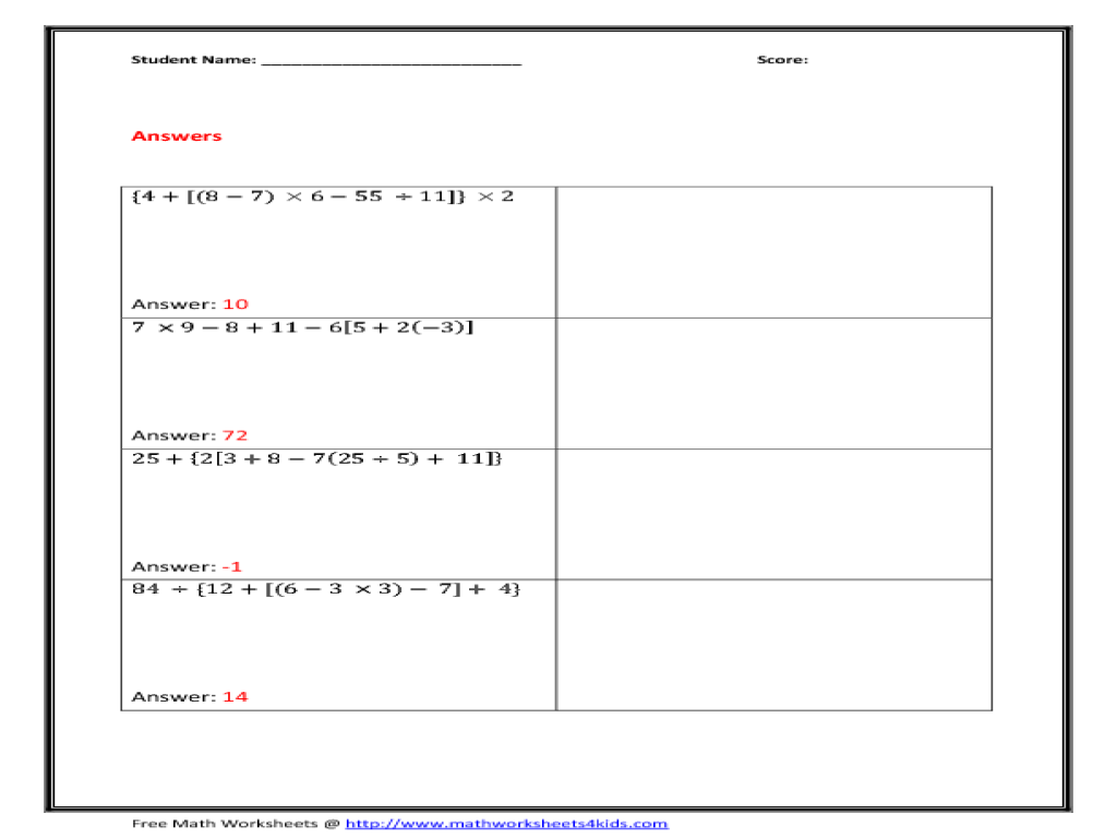 Order Of Operations With Parenthesis Worksheet For 4th