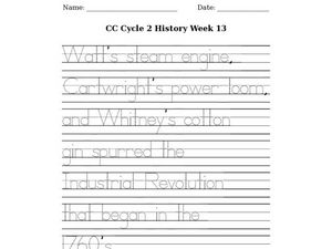 handwriting about the industrial revolution worksheet for 1st 2nd grade lesson planet. Black Bedroom Furniture Sets. Home Design Ideas