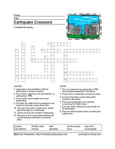 Earthquake Crossword Puzzle Worksheet