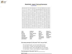 Basketball: Jargon, Fouls, and Synonyms Worksheet for 2nd