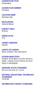 Earthquakes Lesson Plan
