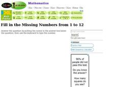 Missing Numbers: 1 - 12 Interactive