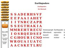Earthquakes Worksheet