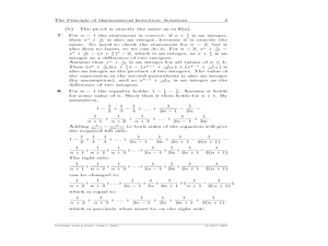 The Principle of Mathematical Induction Worksheet for 7th - 9th ...