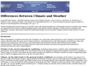 difference between climate and weather lesson plan for 6th 8th grade lesson planet. Black Bedroom Furniture Sets. Home Design Ideas