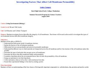 Investigating Factors That Affect Cell Membrane Permeability Lesson Plan