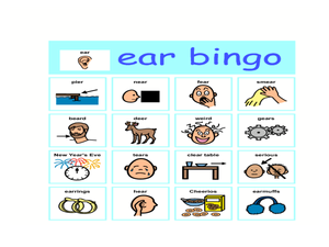 Ear Bingo Graphic Organizer