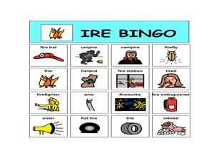 IRE Bingo Worksheet