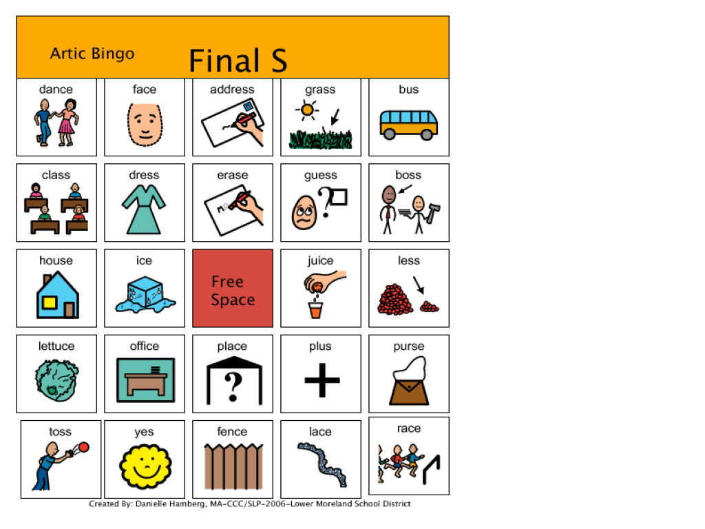 Bingo Board For Final S Sound Worksheet For 1st 3rd
