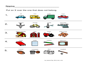 Does Not Belong Worksheet Worksheet for Pre-K - 1st Grade | Lesson ...