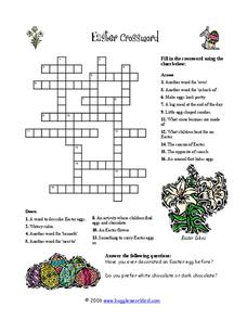Easter Crossword Puzzle Worksheet