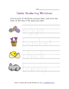 Easter Handwriting Worksheet Worksheet
